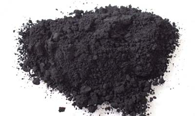 Soot, a material found in the leftover of burned wood.