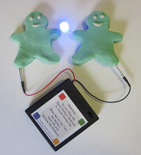 A closed circuit with a battery pack, two people made of Play-Doh and a lit LED that bridges the Play-Doh figures