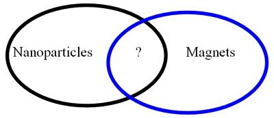 Venn diagram has the left side labeled Nanoparticles, the middle labeled with a question mark and the right side with Magnets