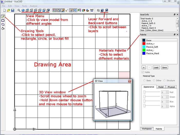Menu, toolbar and materials options in the program VoxCAD