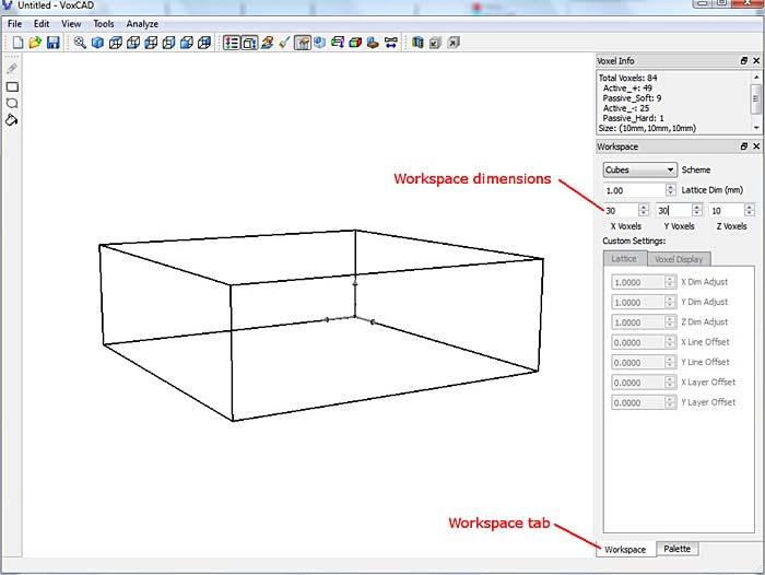 VoxCAD workspace tab