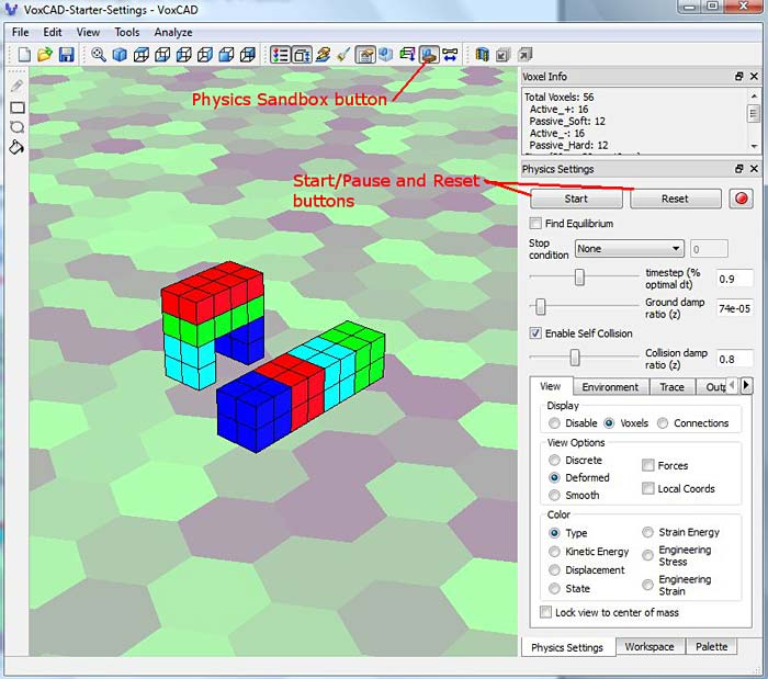VoxCAD physics sandbox