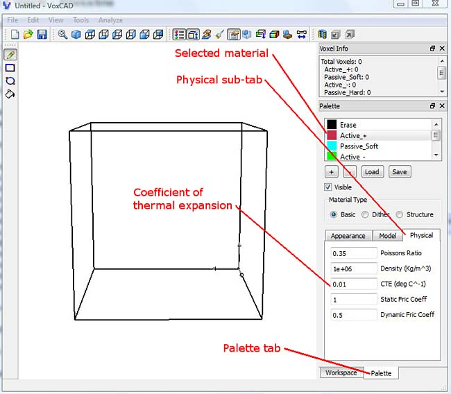 Screenshot shows physical properties of a cube in the program VoxCAD