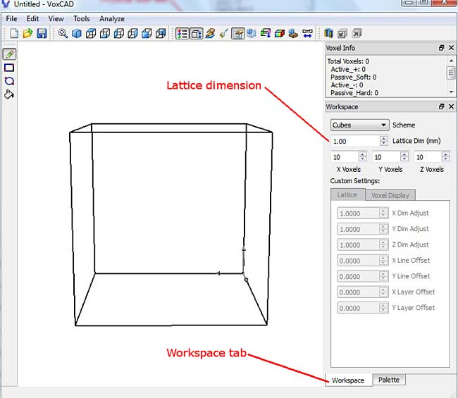 Screenshot shows dimensions of a cube in the program VoxCAD