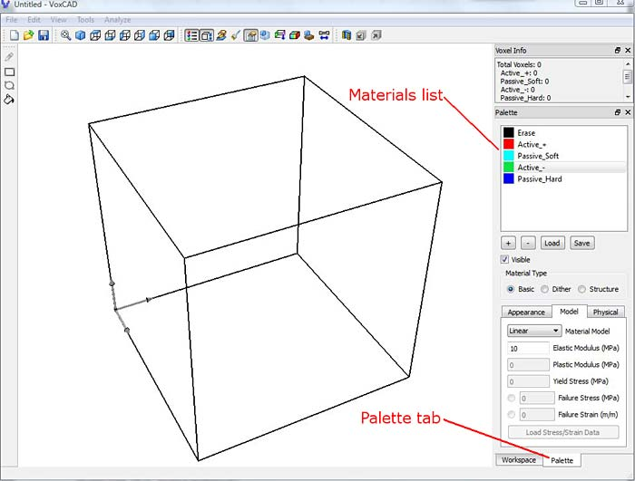Palette tab that can be found in the VoxCAD program