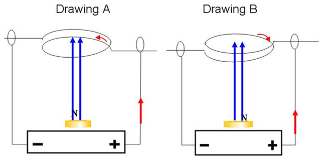 Schematic drawings to determine the direction a current caring loop of wire will move when placed in a permanent magnetic field.