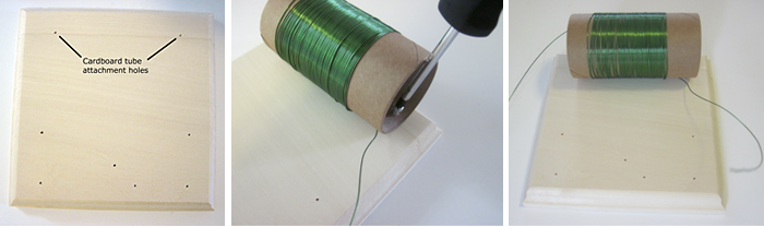 Figure 6: crystal radio wooden base, screwing coil to base, and base attached to board