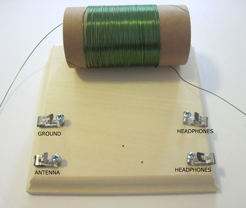 Figure 7: crystal radio fahnestock-clips