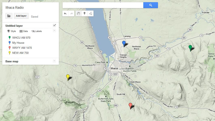 Screenshot of Ithaca New York with four radio towers marked in Google Maps