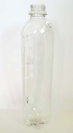 A clear plastic bottle