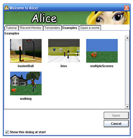 Computer Science fair project. Welcome to Alice intro panel