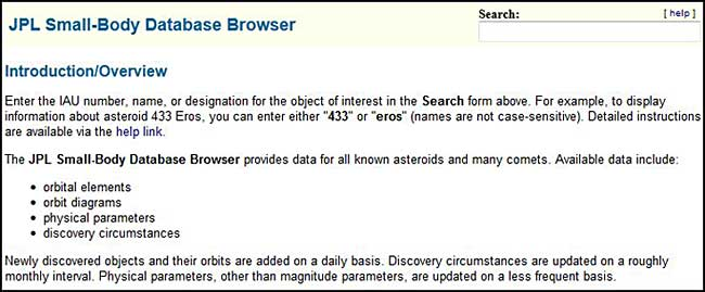 JPL small body database browser search function