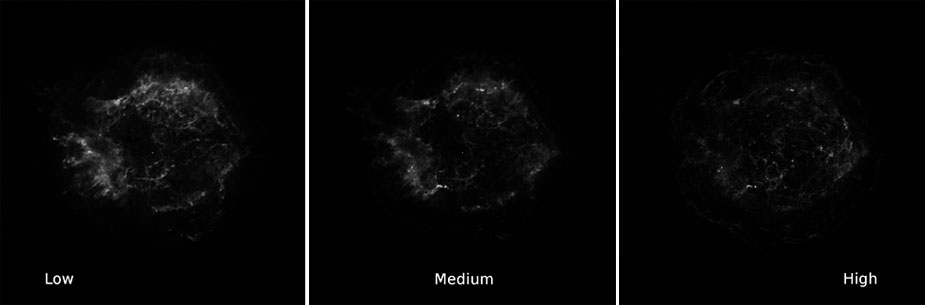 Cassiopeia A raw FITS images (low, medium, high)