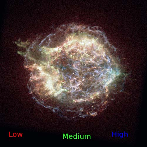 Cassiopeia A colorized x ray image