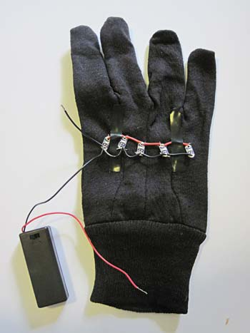 battery pack soldered to LED traffic glove