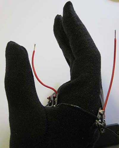 LED traffic glove positive wires soldered