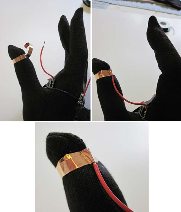 LED traffic glove thumb copper tape