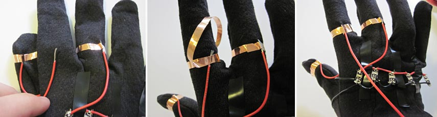 LED traffic glove index finger copper tape