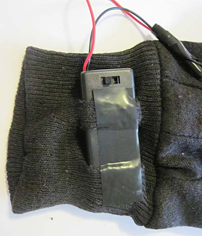 LED traffic glove battery pack attached