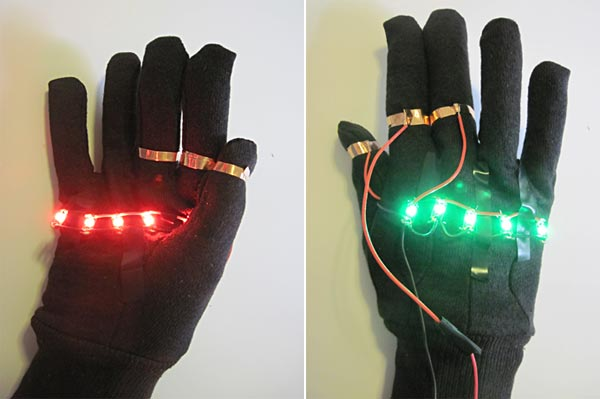 LED traffic glove red and green LEDs