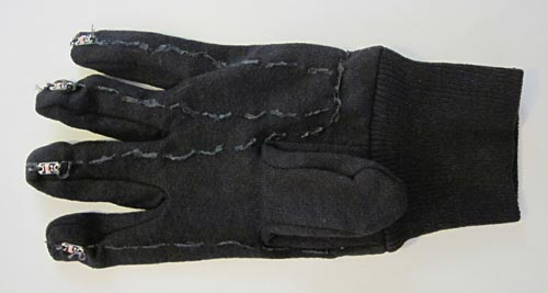 fabric paint used to insulate the bottom of an LED dance glove