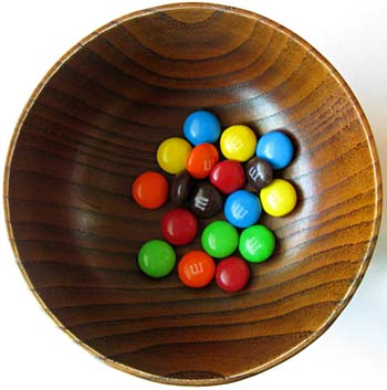 Photograph of M&M candies in bowl