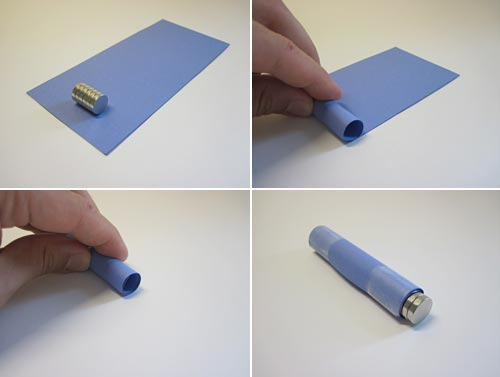 Four photos show a strip of paper being rolled around a stack of circular magnets