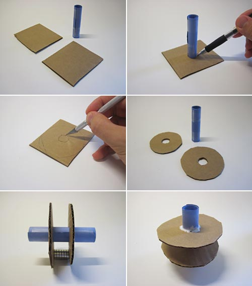 Six photos show two cardboard squares cut into the shape of washers and glued around the mid-section of a paper tube