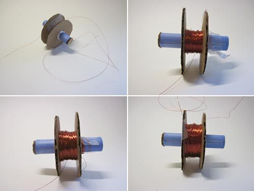 Four photos show magnet wire being wrapped around a spool made from paper and cardboard