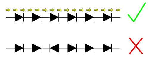Two circuit diagram symbols show six LEDs aligned in the same direction above six LEDs not aligned in the same direction