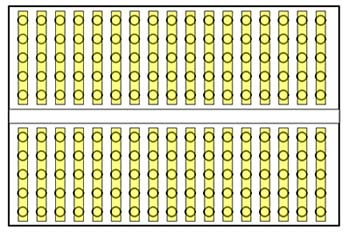 Diagram of a breadboard with each row highlighted in yellow