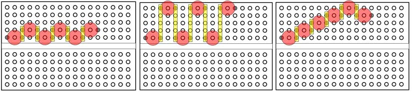 Three diagrams of six LEDs arranged in different patterns on a breadboard with the leads from each LED sharing a row