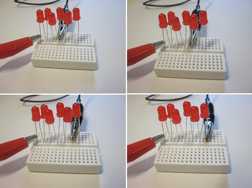 Four photos of two alligator clips connecting to six different LEDs in a breadboard