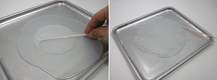 Two photos show a thin layer of uncured silicon spread over a larger sheet of cured silicon in a baking sheet