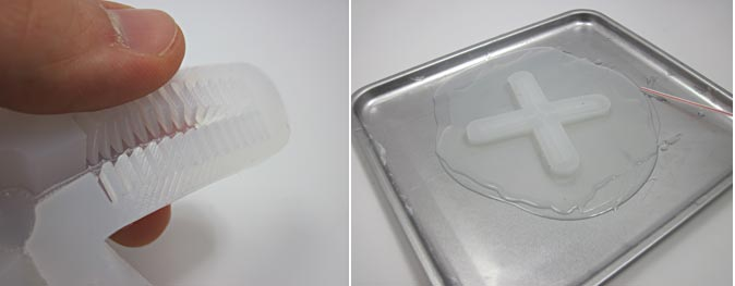 Two photos show ridges on a cross-shaped silicone mold being pressed down onto a large sheet of silicon in a baking sheet