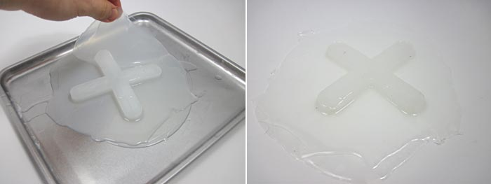 Two photos show a silicon sheet being peeled off of a baking sheet