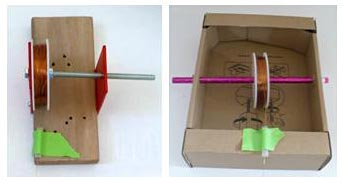 Homemade wire dispensers are made using a spool of copper wire, a straw, and various cardboard or wooden blocks