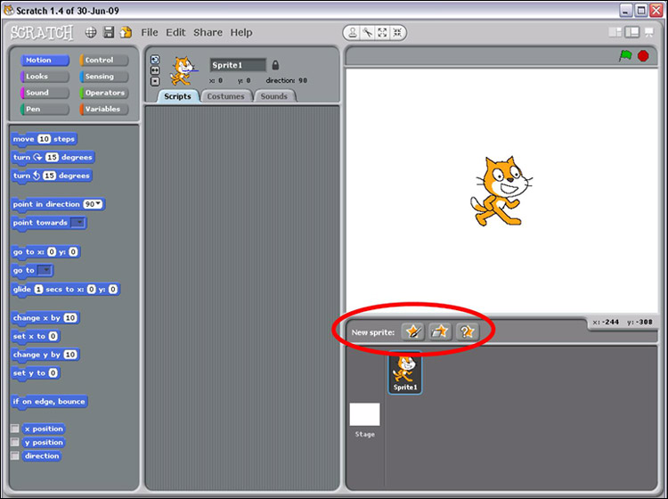 Screenshot of renaming a sprite in the program Scratch
