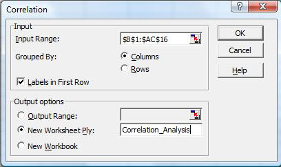 Excel 2003 correlation analysis options