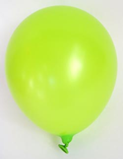 Picture of a green balloon inflated and tied off.