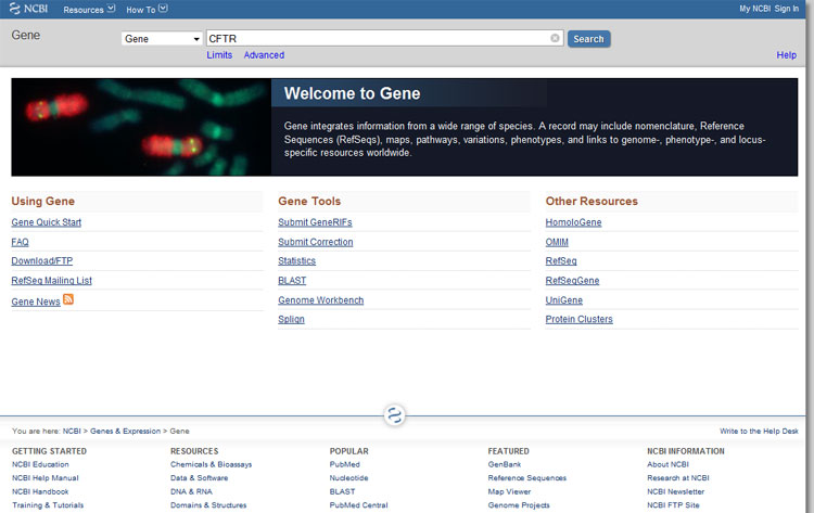 The NCBI Gene database has information on gene sequences, gene alleles and mutations, genomes, and much more genetic data on  humans and other animal species.