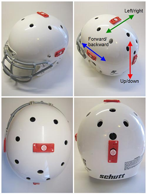 Four shock indicators are placed on a football helmet on the left, right, top and back