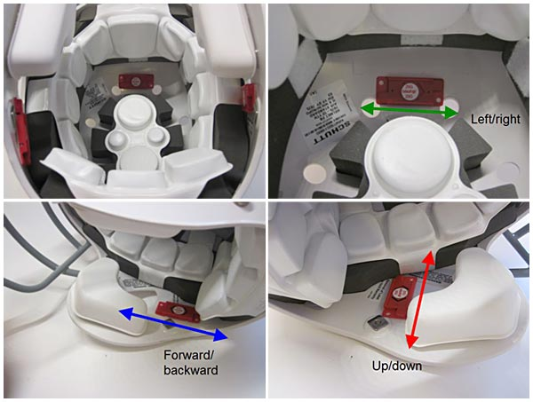 Three shock indicators are placed inside a football helmet in the front, left and right