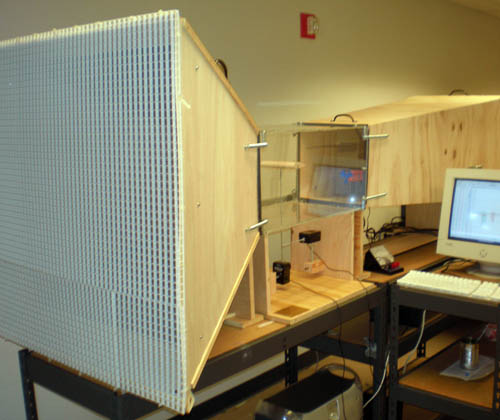 This shows the full wind tunnel assembly in use and collecting data on the computer.