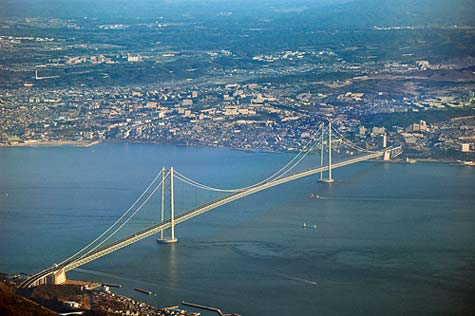 The Akashi-Kaikyo Bridge, the longest suspension bridge in the world.