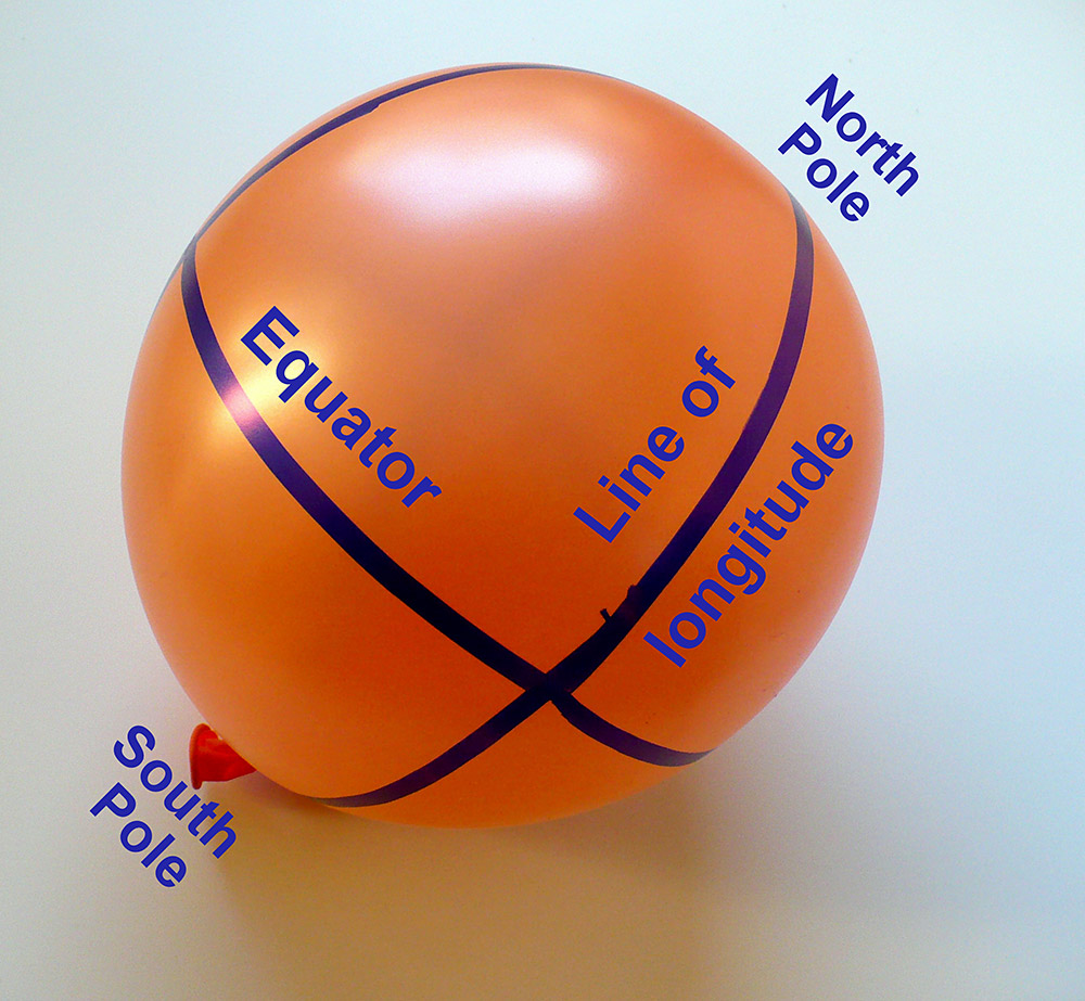 Balloon representing the globe with the equator and lines of longitude drawn on the balloon.