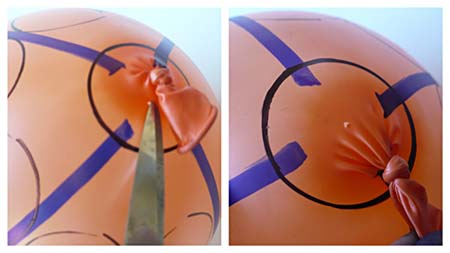 A tiny hole in the balloon close to the knot allows the balloon to slowly deflate.