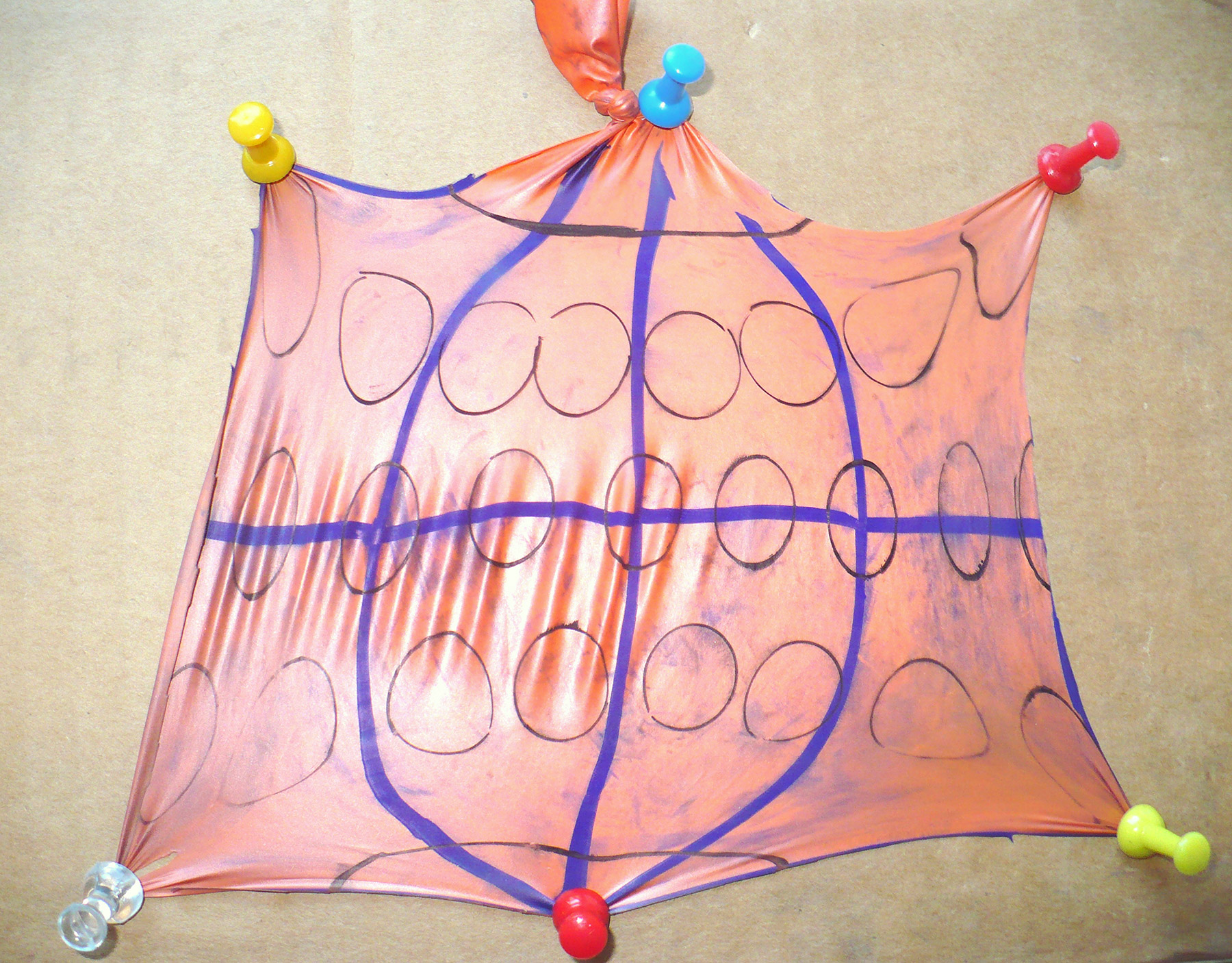 Projection created by stretching out a cut open deflated balloon to a rectangular flat map.