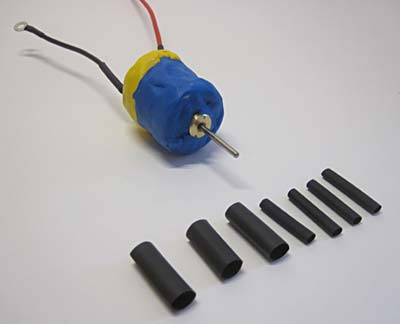 DC motor with heat shrink tubing
