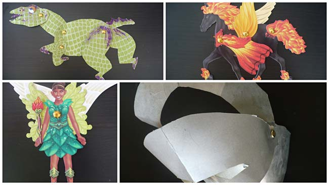 A collection of paper toys with movable parts